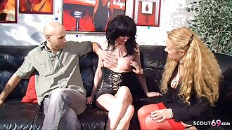 German Mature teaches older Couple to Fuck Big Cock in Threesome