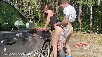Did we do it on the hood of the car? Hot public sex