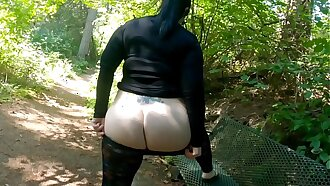 Sheer Leggings Nature Walk With Fat Spoils Flashing